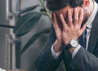 Man met burn-out of depressie